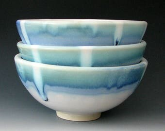 STONEWARE DESSERT BOWL - Ceramic Cereal Bowl - Salad Bowl - Soup Bowl - Ice Cream Bowl - Blue Bowl - Pottery Bowl - Handmade Bowl