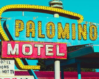 Neon Sign Photo, New Mexico, Motel Sign, Route 66 Art, Colorful Photo, Americana, Pop Art, Roadtrip, Home Decor, Art Print, Dorm Room Decor