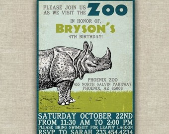 Zoo birthday party invitation, rhino kids birthday party invitation, printable, wild adventure, safari birthday theme