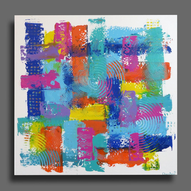 Tableau xxl moderne carr abstrait color arc en ciel bleu - Tableau sur toile moderne ...