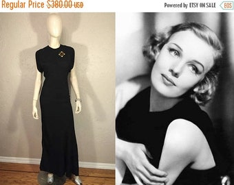 Anniversary Sale 35% Off Francis Farmer Stuns - Vintage 1930s Black Textured Silk Rayon Evening Gown Dress w/Open Split Back