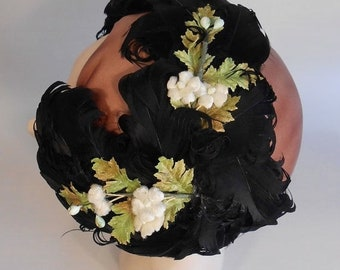 Anniversary Sale 35% Off Cocktails Are Being Served - Vintage 1950 Black Curled Feather Cookie Cutter Fascinator Hat w/Florals