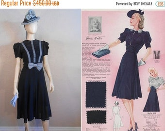 Anniversary Sale 35% Off Summer Holidays in Tyrol - Vintage 1930s Navy Chiffon Rayon Gift Dress w/Forget Me Knot Blue Ribbons - 2/4
