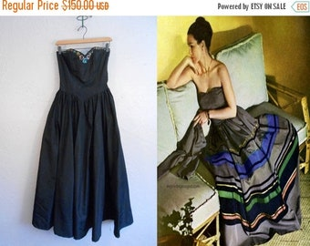 Anniversary Sale 35% Off The Party Is Beginning - Vintage 1940s WW2 Black Taffeta Rayon Strapless Evening Gown w/Sequin Detail - XXS