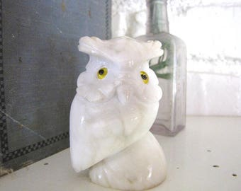 Vintage White Marble Owl Hand Carved Stone Owl Italy from AllieEtCie