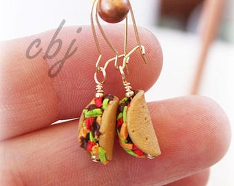 Taco Earrings, Polymer Clay Taco Earrings, Gold Filled Taco Earrings, Taco Tuesday Jewelry, Taco Jewelry, Handmade Taco Jewelry, Tacos