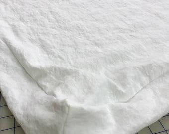 Washed Linen Feather Bed Cover-Zip ClosureTwin Bed Size Boxed Style Feather Bed Mattress Cover-Vintage White Washed Linen Mattress Slipcover