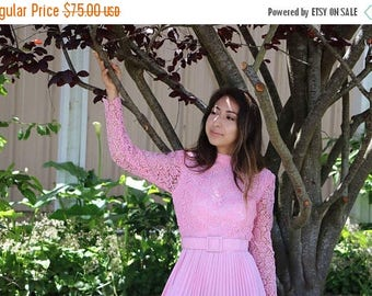 SUMMER SALE Vintage Pink Lace Long Sleeved Pleated Mini Dress With Matching Belt