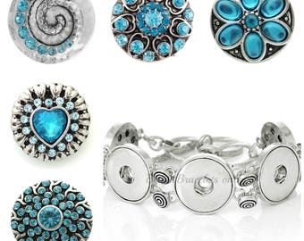 Snap Charm bracelet  plus 5x20 mm Snap buttons that will fit Ginger Snaps jewelry & other regular snap jewelry.