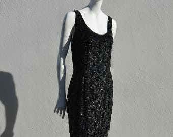 Vintage 60's all beaded classic Hong Kong MOD sequin dress LBD party cocktail glam Mad Men size M by the kaliman
