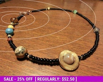 June SALE! Solar System Necklace - Jumbo Size - Mens Necklace - Planets of the Solar System and Proportional Distances in Glass and Stone