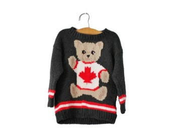 50% half off sale // Vintage 80s Handknit Canadian Teddy Bear Maple Leaf Sweater - Kids 5 6 - Childrens, girls boys