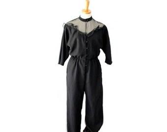 50% half off sale // Vintage 70s 80s DISCO Ruffle Black Jumpsuit // PBJ // Women Small
