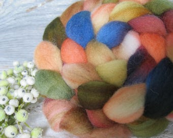 Hand dyed roving top for hand spinning felting crafting USA wool Cowboy Up