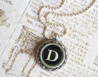 The Letter D Vintage Typewriter Key Necklace Pendant