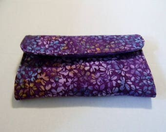 Purple Floral Batik Clutch Wallet
