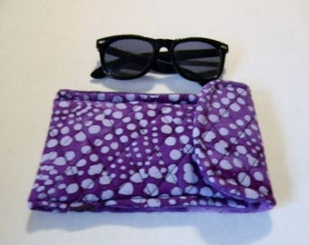 Purple Polka Dot Batik Sunglasses Case