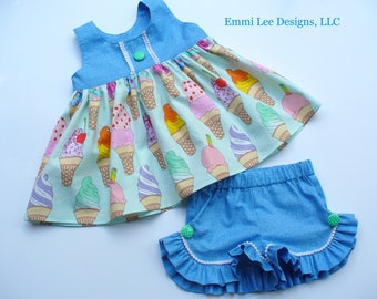 Ice Cream Cones Top,Ice Cream Top,Girls Summer Top, Little Girls Top,Toddler Top,Blue,Green,Sizes 12MO,18MO,2T,3T,4T,5T,6,7,8,9/10
