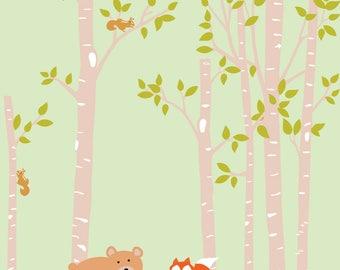 Wall Decal Nursery, Baby Nursery Wall Decal, Birch Tree Wall Decals, Nursery Wall Decals, Forest Wall Decals