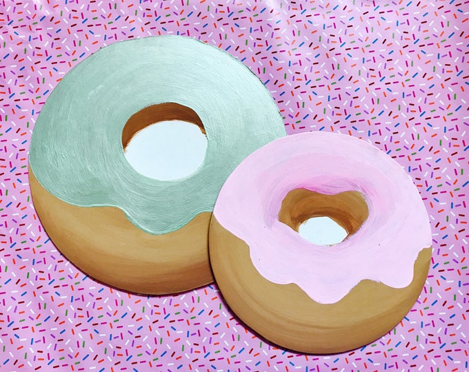 hand painted Donut Decor, Doughnut Decor, Donut decoration set of two Mint Green and Light Pink