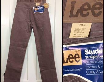 1980s deadstock Lee Student Rider 560 corduroys 29x32 taupe tan straight leg corduroy jeans NOS NWT #1602
