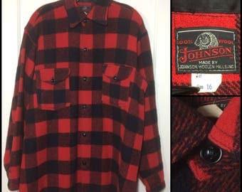 1950s Johnson Woolen Mills buffalo plaid wool shirt jacket size 16 medium large red black