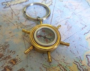 Brass Compass Key Chain, Boat Key Chain, Compass Gift, Compass Key Chain, Mens Key Chain, Ships Steering Wheel Ring, Navigation Key Chain