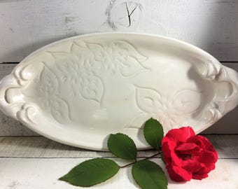 Ready to Ship: Ceramic Oval Platter with Dahlia Carving in White