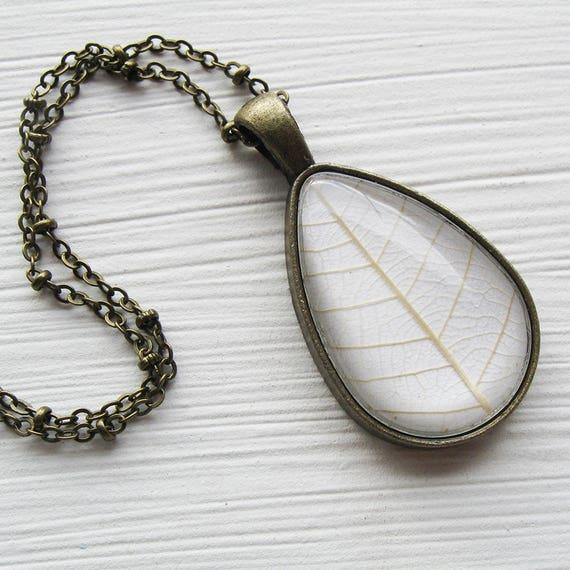 Real Pressed Leaf Necklace - White Leaf Botanical Teardrop Necklace
