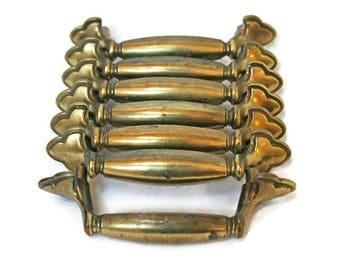 Vintage Drawer Pulls  /  Dresser Hardware  /  7 Brass Knobs for Repurpose or Furniture Restoration