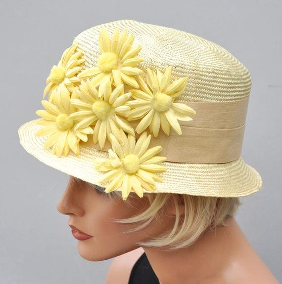 Wedding Hat, Derby hat, Kentucky Derby Hat, Ladies Yellow Hat