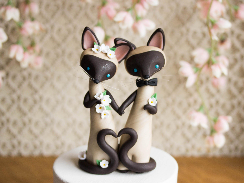 Siamese cat wedding cake topper by bonjour poupette junglespirit Choice Image