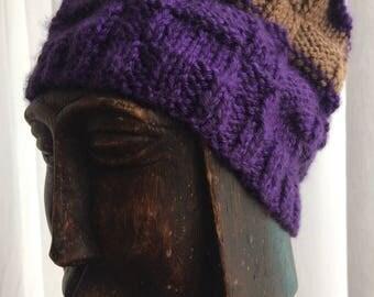 Violet Purple Brown Waffle Texture Knit Hat