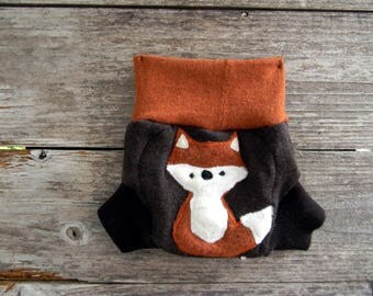 Upcycled Merino Wool Soaker Cover Diaper Cover With Added Doubler Brown/ Orange/Black With Fox Applique NEWBORN 0-3M Kidsgogreen