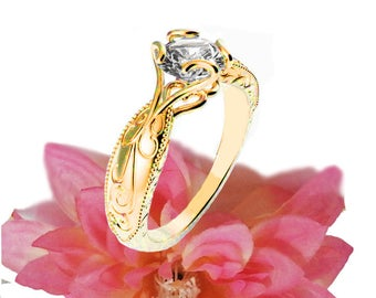Solitaire Ring Unique Claw Design Engraved Engagement Ring 14K or 18K Yellow Gold