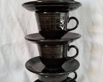 Vintage Fiestaware Cups and Saucers-Black Fiestaware Homer Laughlin China Coffee Cup and Saucer Set of Four-Vintage Tea or Coffee Cups