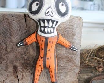 OOAK Lowbrow Goth Halloween Primitive Skeleton Folk Art Doll Creepy and Cute Big Eye Whimsical Vintage Style Odd Whimsy