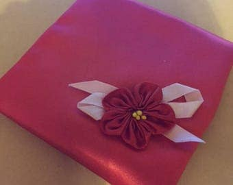 Sachet in Red Satin with Ribbonwork flower (FFs1224)