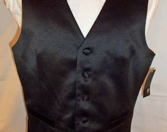 JC Penny J Ferrar Mens Black Tuxedo Vest with Black White Checkerboard Back New Old Stock with Original Price Tag