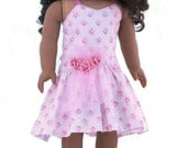 """18"""" Doll Clothes Fits American Girl Doll - Pink Party Dress with Roses"""
