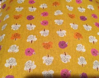 Heather Ross Kokka Far Far Away 2 Flowers Yellow FQ +