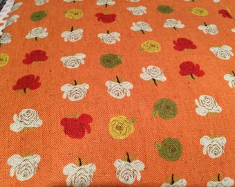 Heather Ross Kokka Far Far Away 2 Flowers Orange FQ