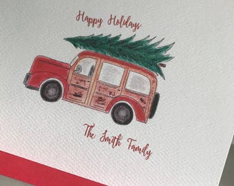 Holiday Cards, Vintage Woodie Cards, Personalize Cards, Invitation, Blank Inside, Vintage, Family Greeting Cards, Gift, Business , Gift