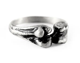 Silver Skull Ring Mens Rustic Oxidized Bone Rings Jewelry Cool Gifts for Men