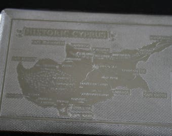 Vintage cigarette case. Engine turned. Souvenir of Cyprus