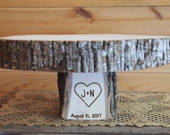 Wedding CAKE STAND - Personalized - Natural Wood Slice - Tree Cake Stand - Perfect for Country Weddings