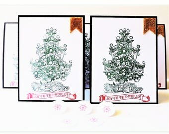 Christmas Card Set - Joy To The World Christmas Card Set with Matching Envelope Seals - Merry Christmas Card Pack  - Set of 5