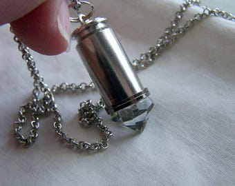 Swarovski Crystal Silver Bullet Jewelry Necklace