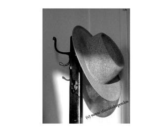 Mans Hat Photography Black and White Photography Vintage Men's Hat Mad Men Hat Art Monochromatic Art for Him 1940s Wall Art 1940s Home Decor