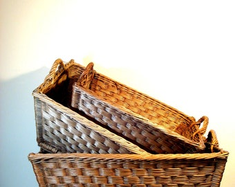 Vintage Medium French Laundry Basket with Handles, French Wicker Basket, French Basket